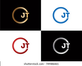 JT Logo. Letter Design Vector with Red and Black Gold Silver Colors