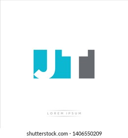 JT Logo Letter with Modern Negative space - Light Blue and Grey Color EPS 10