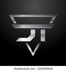 JT Logo, Metal Logo, Silver Logo, Monogram, Polygon