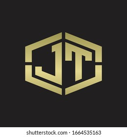 JT Logo monogram with hexagon shape and piece line rounded design tamplate on gold colors