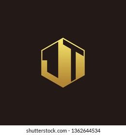 JT Logo Monogram with Negative space gold colors