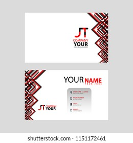 The JT logo on the red black business card with a modern design is horizontal and clean. and transparent decoration on the edges.