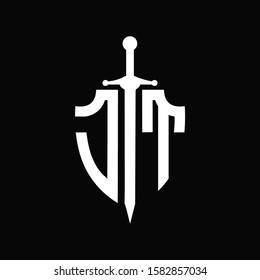 JT logo with shield shape and sword