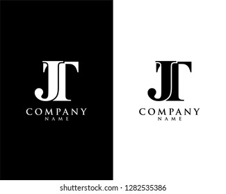 jt/tj initial company name logo template vector