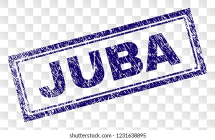 JUBA stamp seal print with rubber print style and double framed rectangle shape. Stamp is placed on a transparent background. Blue vector rubber print of JUBA text with unclean texture.