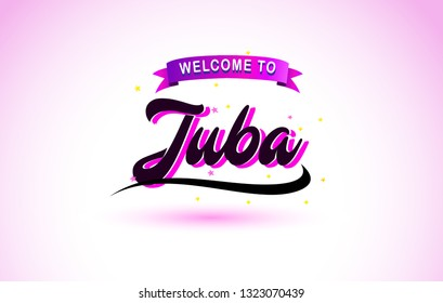 Juba Welcome to Creative Text Handwritten Font with Purple Pink Colors Design Vector Illustration.