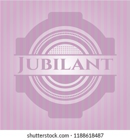 Jubilant badge with pink background