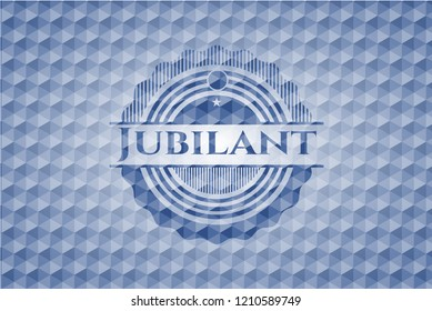 Jubilant blue emblem with geometric background.