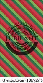 Jubilant christmas colors style emblem.