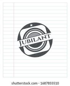 Jubilant emblem drawn in pencil. Vector Illustration. Detailed.