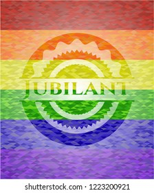 Jubilant emblem on mosaic background with the colors of the LGBT flag