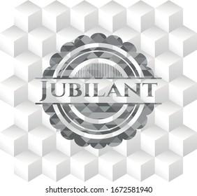 Jubilant grey emblem with geometric cube white background