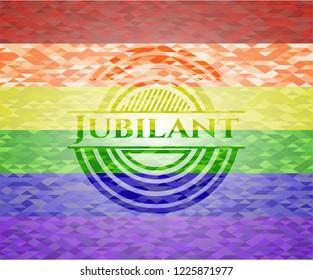Jubilant lgbt colors emblem