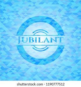 Jubilant light blue emblem with triangle mosaic background
