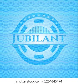 Jubilant light blue water wave style emblem.