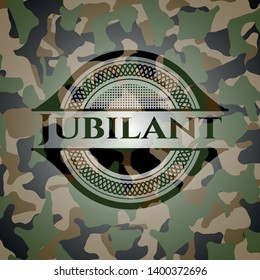 Jubilant on camouflaged texture. Vector Illustration. Detailed.