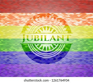 Jubilant on mosaic background with the colors of the LGBT flag
