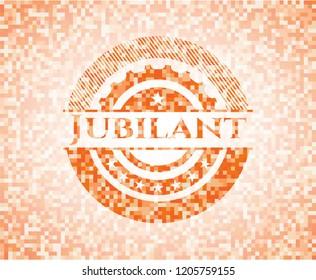 Jubilant orange mosaic emblem