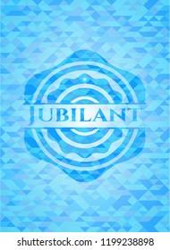 Jubilant realistic light blue emblem. Mosaic background
