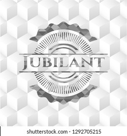 Jubilant retro style grey emblem with geometric cube white background