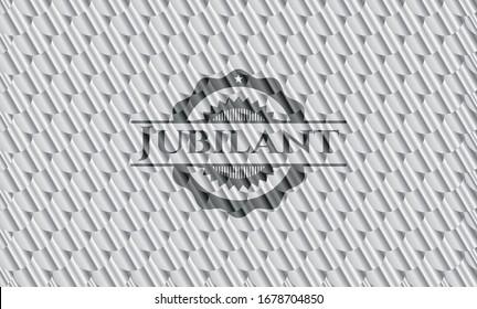 Jubilant silver color badge or emblem. Scales pattern. Vector Illustration. Detailed.