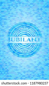 Jubilant sky blue emblem. Mosaic background