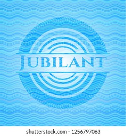 Jubilant sky blue water wave badge.
