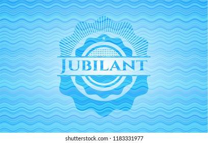 Jubilant water wave representation emblem.