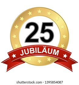 Jubilee button with banner for 25 years (text in german)