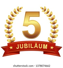 Jubilee button with banner for 5 years (text in german)