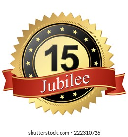 Jubilee button with banners 15 years
