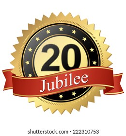 Jubilee button with banners 20 years