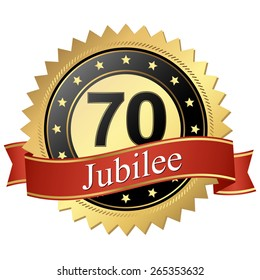 Jubilee button with banners 70 years