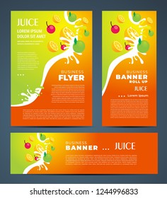 Juce fruit drops orange and apple theme Set flyer cover, banner, roll up banner