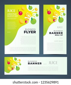 Juce fruit drops theme Set flyer cover, banner, roll up banner