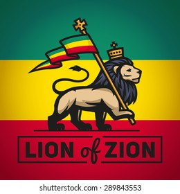 Judah lion with a rastafari flag. King of Zion logo illustration. Reggae music vector design