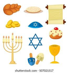 Judaism church traditional hanukkah jewish icons set. Various jewish symbols and items hanukkah celebration flat icons set isolated vector. Jewish hanukkah church traditional religious.