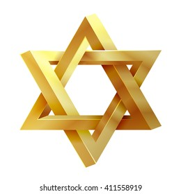 Judaism david, jewish, israel star. Seal of Solomon icon. Vector illustration