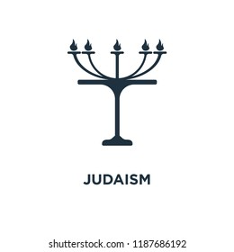 Judaism icon. Black filled vector illustration. Judaism symbol on white background. Can be used in web and mobile.