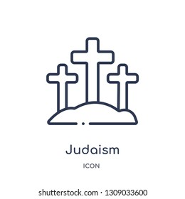 judaism icon from religion outline collection. Thin line judaism icon isolated on white background.