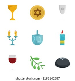 Judaism icon set. Flat set of 9 judaism vector icons for web design