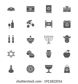 Judaism icons set, outline, glyph. filled vector symbol collection. Signs, logo illustration. Set includes icons as jewish holiday hanukkah, david star, food and drinks