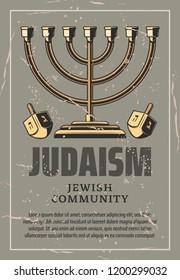 Judaism menorah lampstand, Jewish holiday. Vector vintage Judaism religion symbol with Hanukkah menorah and dreidel spinning top with Hebrew script writings