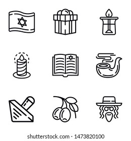 Judaism objects icon set. Outline set of 9 judaism objects vector icons for web design isolated on white background
