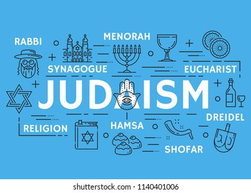 Judaism poster of Jewish religious symbols. Vector thin line design of David star and Torah Judaism religion book, rabbi synagogue or menorah, Eucharist or Hamsa and Shofar with Holy Grail icons