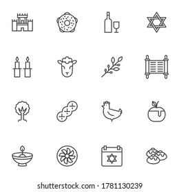 Judaism related line icons set, outline vector symbol collection, linear style pictogram pack. Signs, logo illustration. Set includes icons as jewish holiday hanukkah, david star, food and drinks