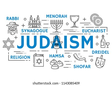 Judaism religion banner with jewish culture and philosophy thin line symbols. Torah, menorah and synagogue, hanukkah and passover holiday, kosher food and wine, dreidel, shofar and eucharist icons