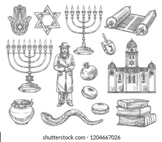Judaism religion sketches with vector symbols of jewish holidays. Hanukkah menorah, Rosh Hashanah shofar, honey, donut and pomegranate, David Star, torah and dreidel, rabbi, synagogue, book and hamsa