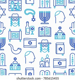 Judaism seamless pattern with thin line icons: Orthodox jew, star of David, sufganiyot, hamsa, candles, synagogue, skullcap, rosary, Western Wal, Tanakh. Modern vector illustration.