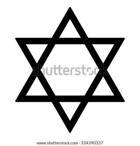 Judaism Star Religion Symbol Israel Black Stock Vector Royalty Free